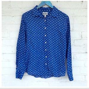 J. Crew Blue White Perfect Shirt in Linen Dot
